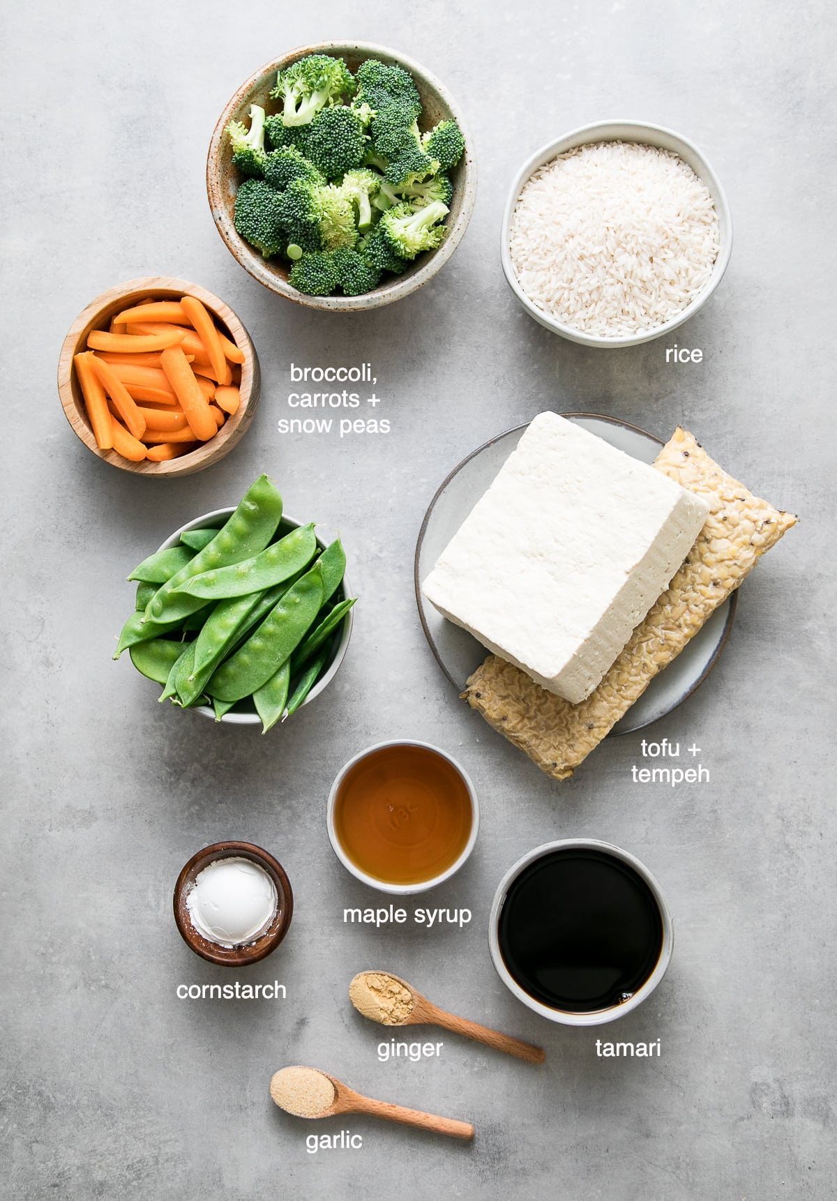 top down view of ingredients used to make teriyaki tofu-tempeh casserole recipe.