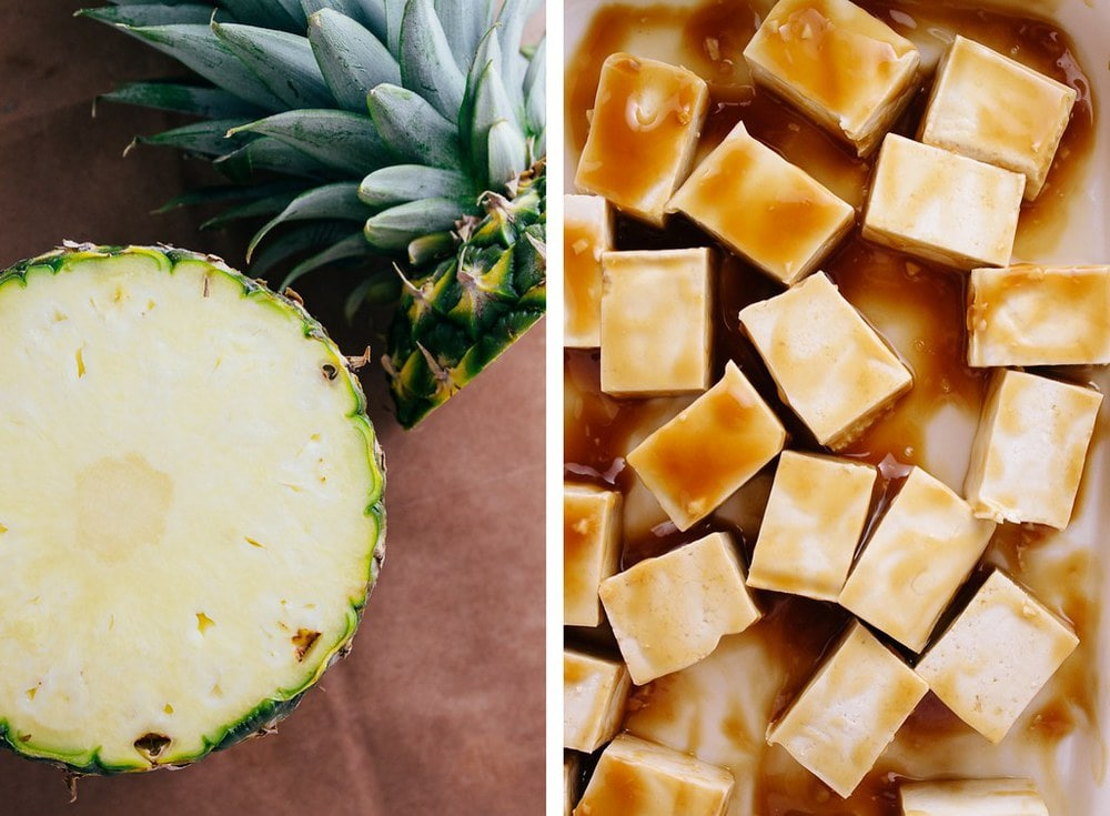 side by side picture of pineapple with top sliced off, next to marinating tofu in pineapple teriyaki sauce.