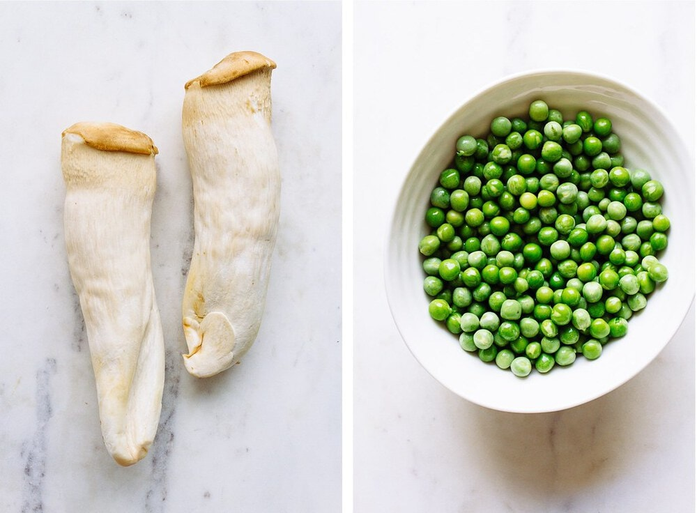 side by side picture of king oyster mushrooms and green peas in a white bowl