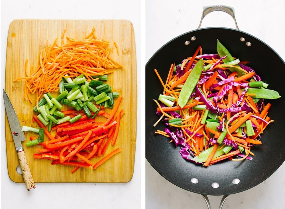side by side pictures showing the process of prepping and cooking veggies for thai zucchini noodle salad bowl.
