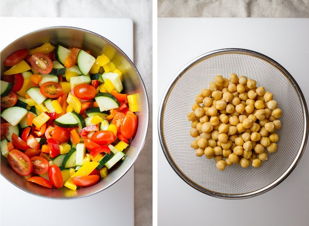 top down, side by side photo, of chopped veggies in a bowl, next to chickpeas in a mesh colander