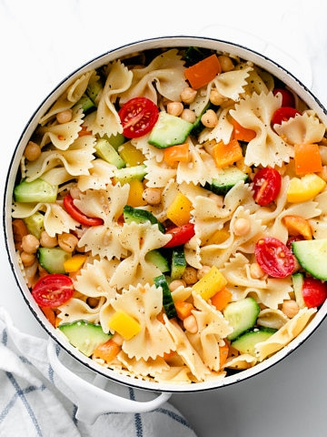top down view of freshly made vegetable pasta in a pot.