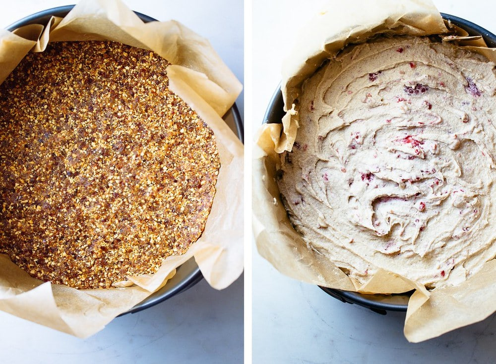 side by side picture showing the nut based crust pressed into the pan, then filled with no bake cheesecake batter