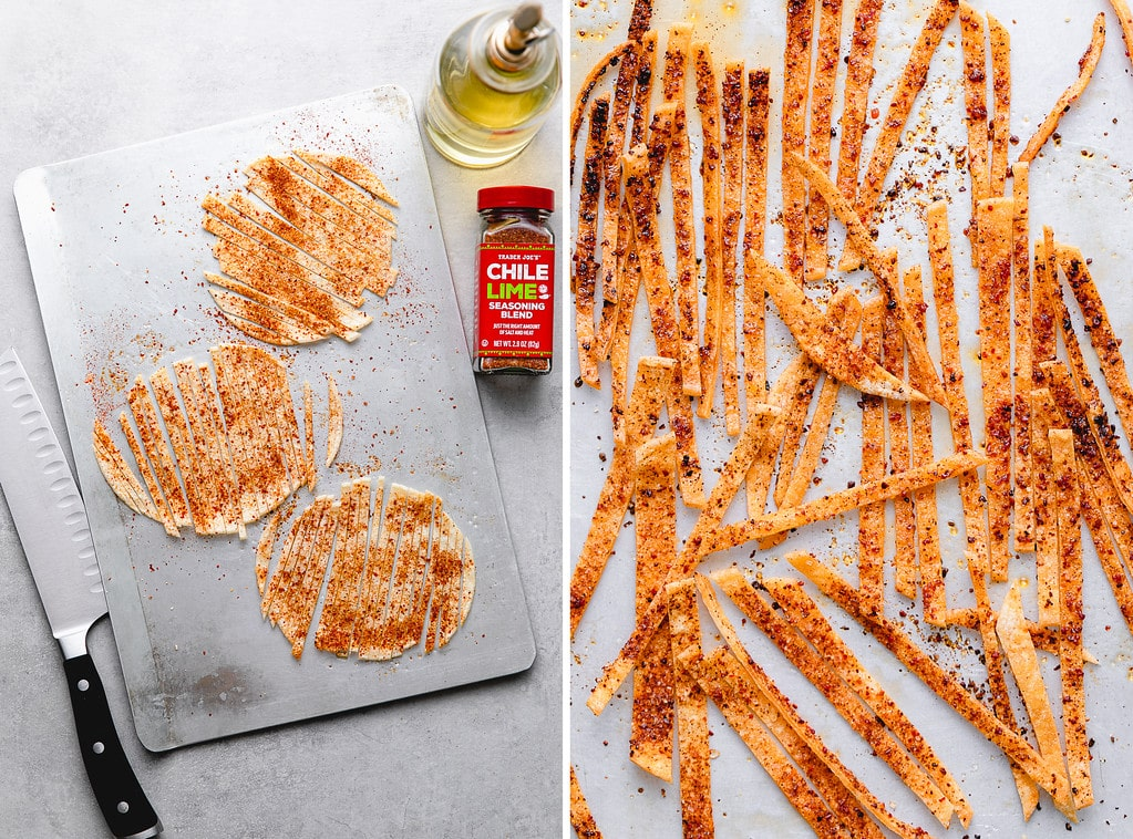 side by side photos showing the process of making crunchy tortilla strips.
