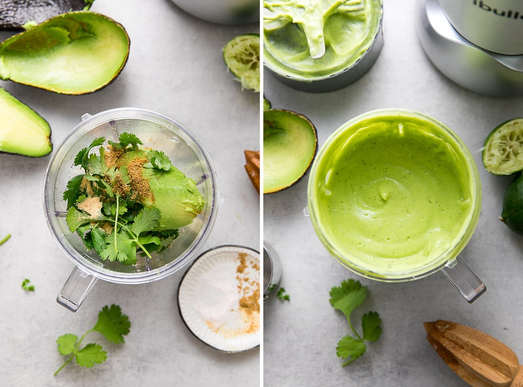 side by side photos showing the process of making avocado-lime salad dressing.