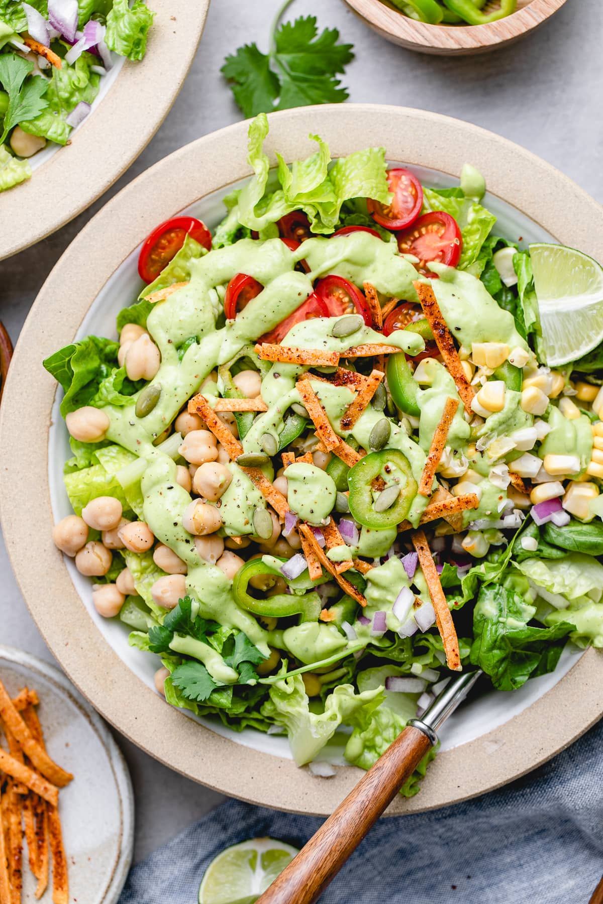 top down view of southwestern chickpea salad with avocado dressing.