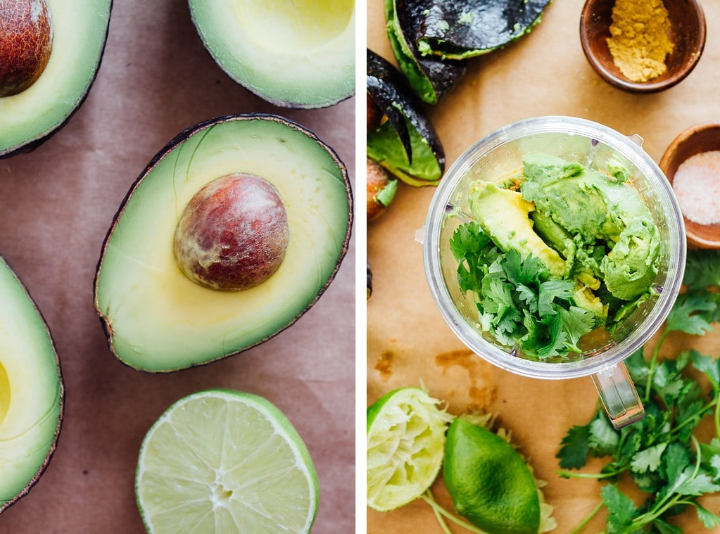 side by side photos showing the process of making avocado lime dressing.