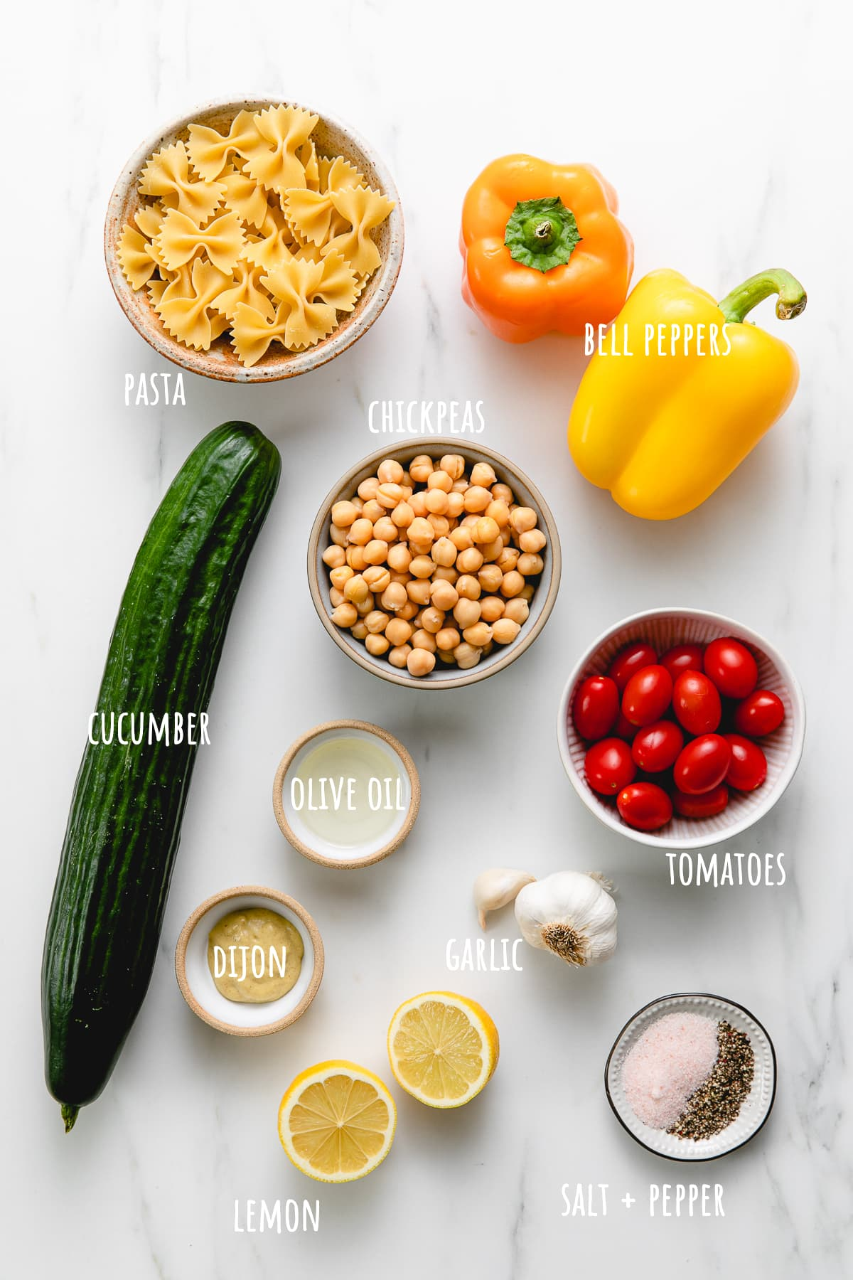 top down view of ingredients used to make healthy vegetable pasta.