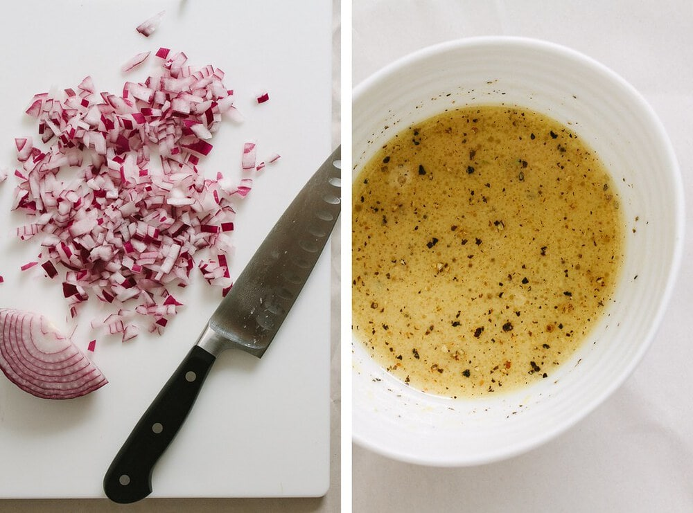 side by side photo of finely diced onions and dressing for autumn wheat berry butternut squash salad.