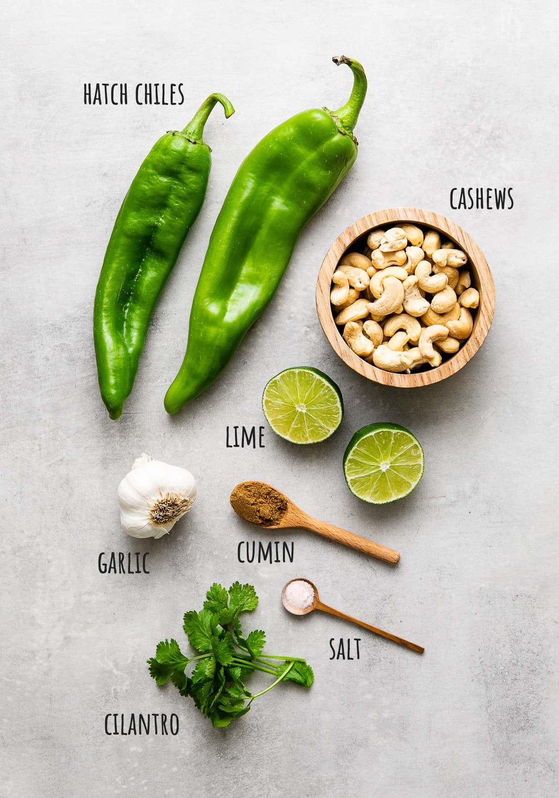 top down view of ingredients used to make ranch -style hatch chile dressing.