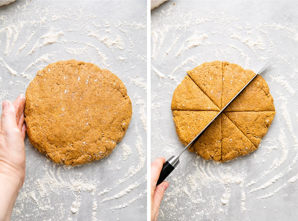 top down view of photos showing the process of shaping and cutting pumpkin scone dough.