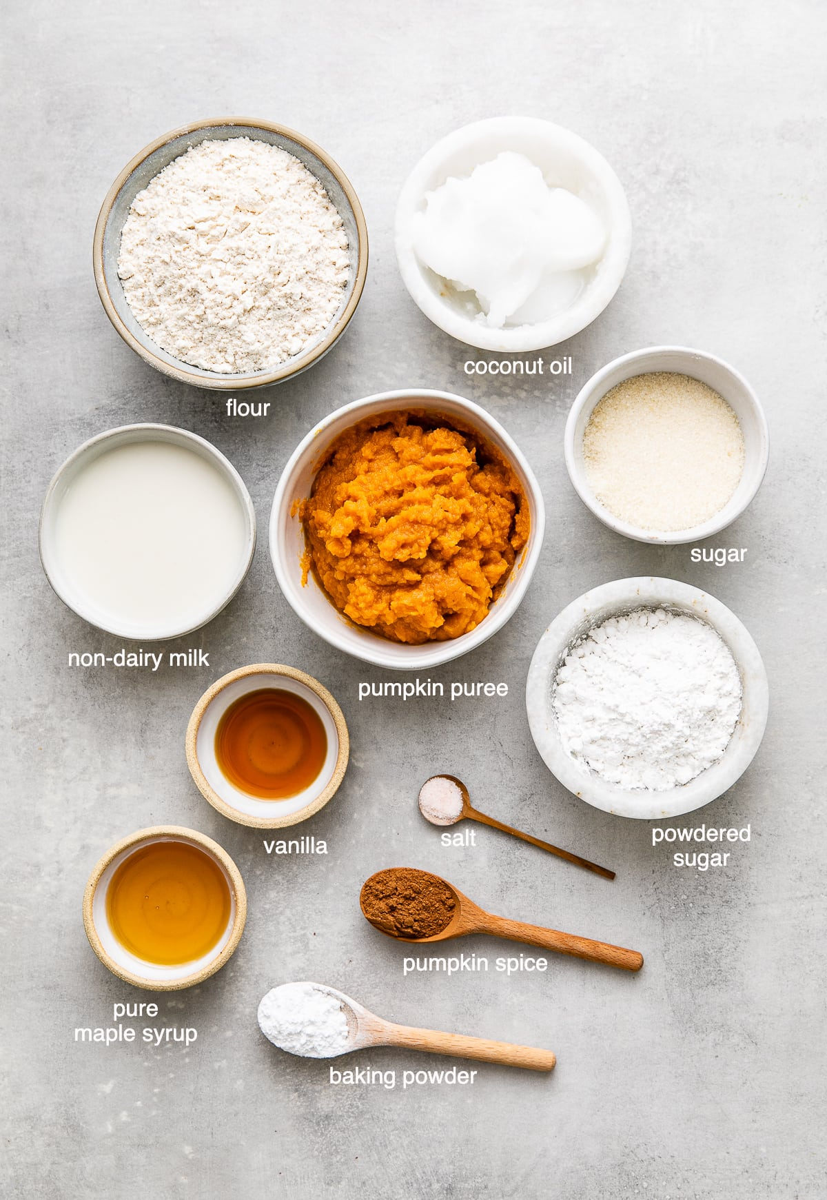 top down view of ingredients used to make best vegan pumpkin scones.