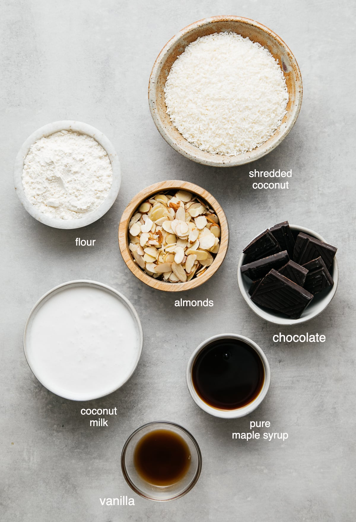 top down view of ingredients used to make vegan coconut macaroons recipe.