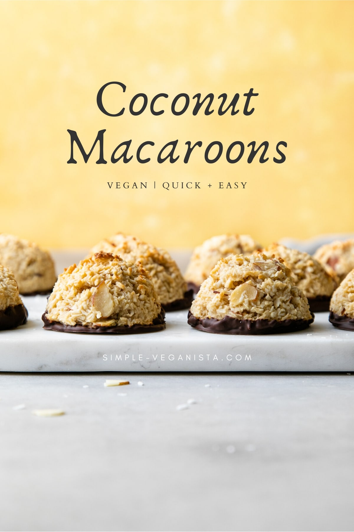 head on view of vegan coconut macaroons.