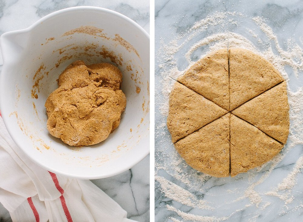 side by side photo of the process of making vegan pumpkin scones.