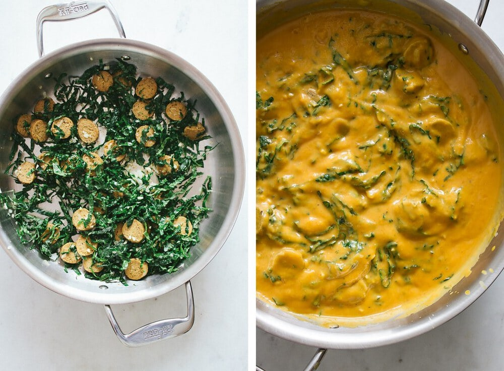 side by side photos of the process of making creamy pumpkin sauce with kale and sausage.