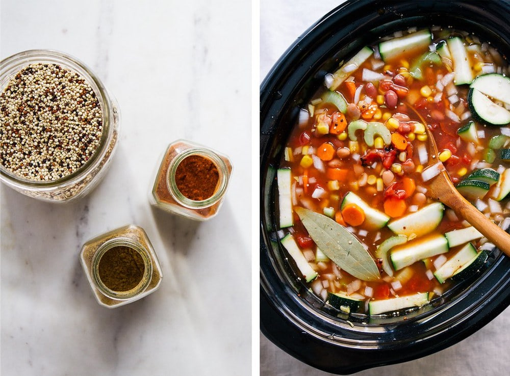 side by side picture of quinoa and spices in jars, and quinoa vegetable soup on crockpot before cooking.