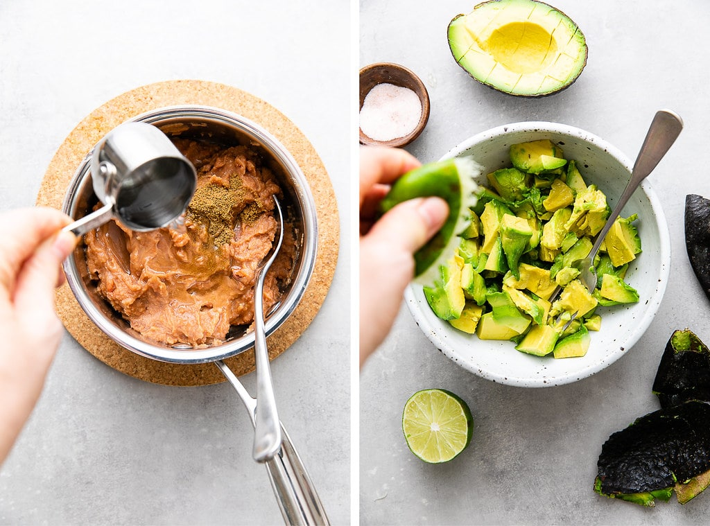side by side showing the process of prepping refried beans and guacamole.