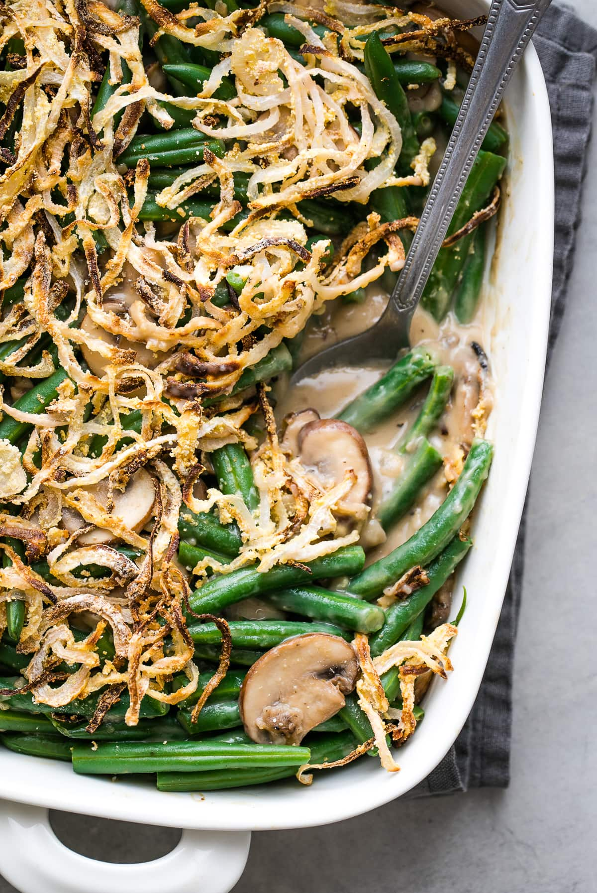 side angle view of healthy green bean casserole.