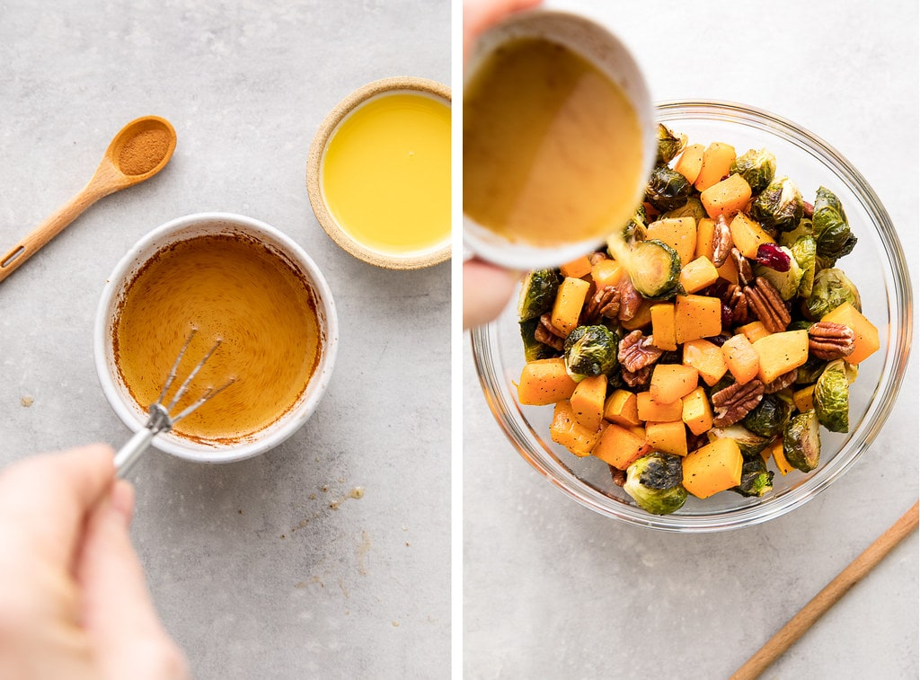 side by side photos of orange cinnamon dressing made and tossed with roasted veggies.