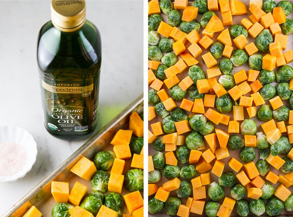 side by side photos showing the process of prepping butternut squash and brussels sprouts for roasting.