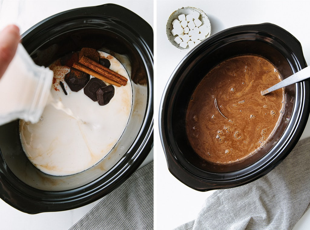 top down view showing the process of making Mexican hot cocoa in a slow cooker.