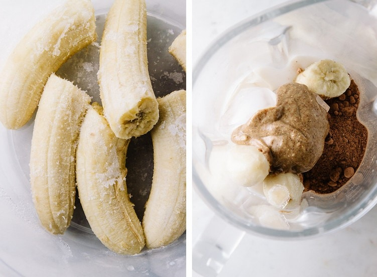 side by side shot of a frozen bananas added to a blender, next to almond butter, ice and plant milk and cocoa added
