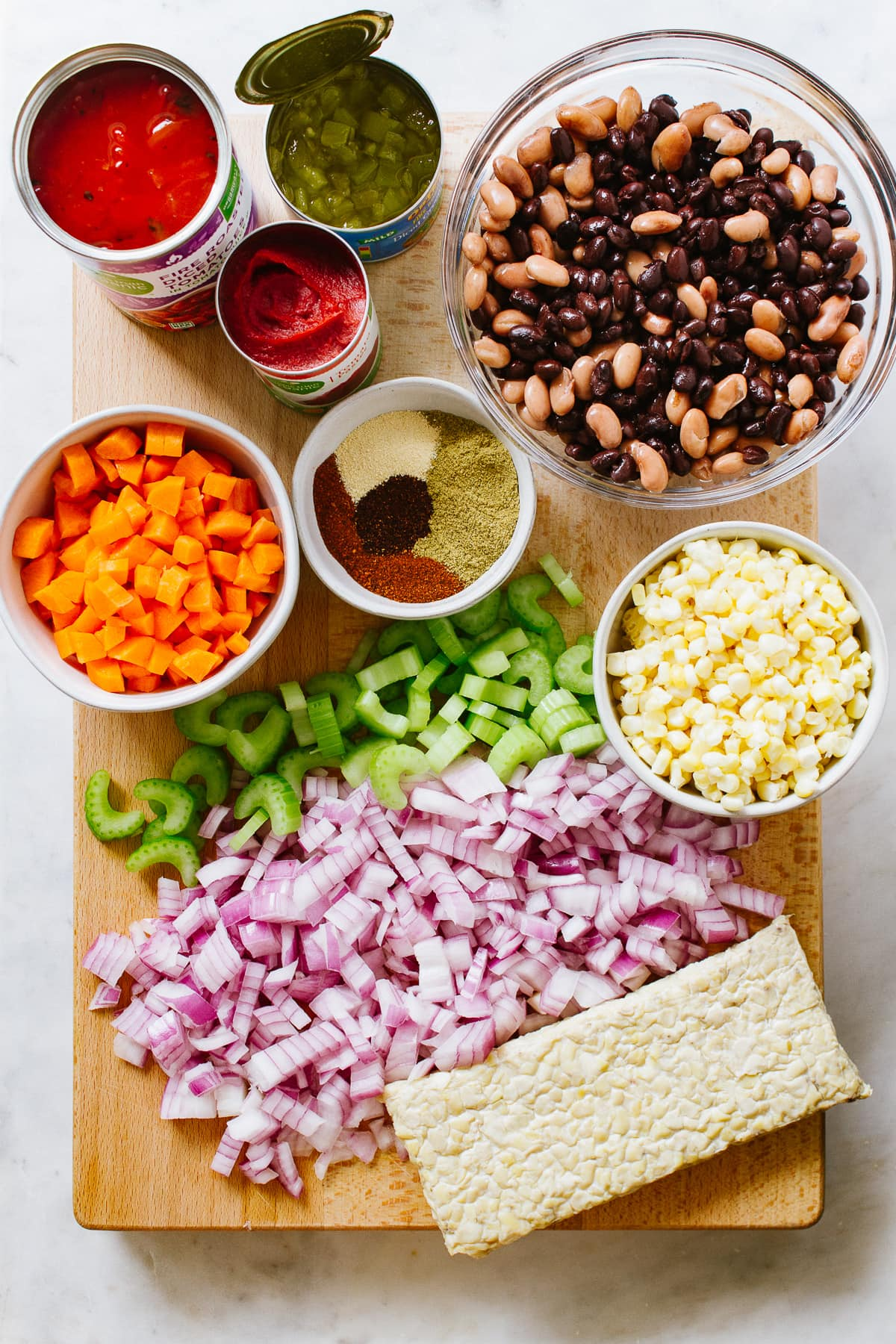 top down view of ingredients to make the best vegetable chili recipe.