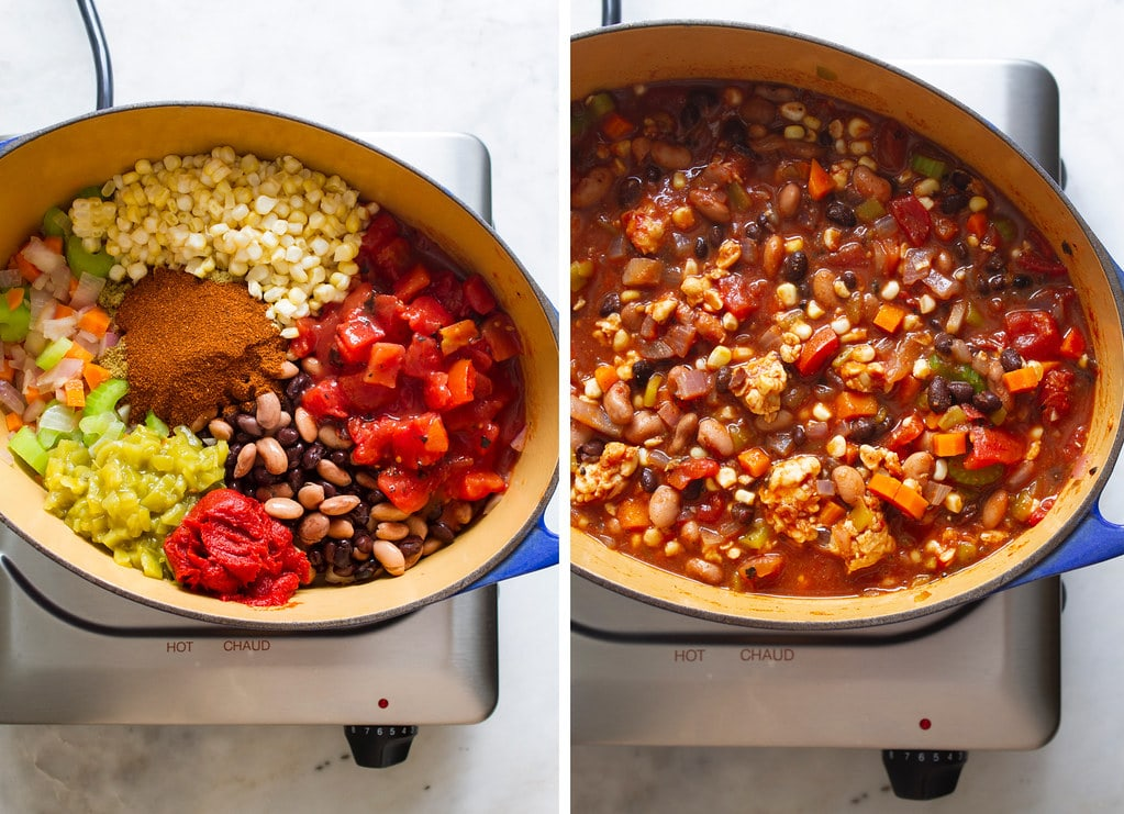 side by side photos showing the process of making easy vegetable chili on the stovetop.