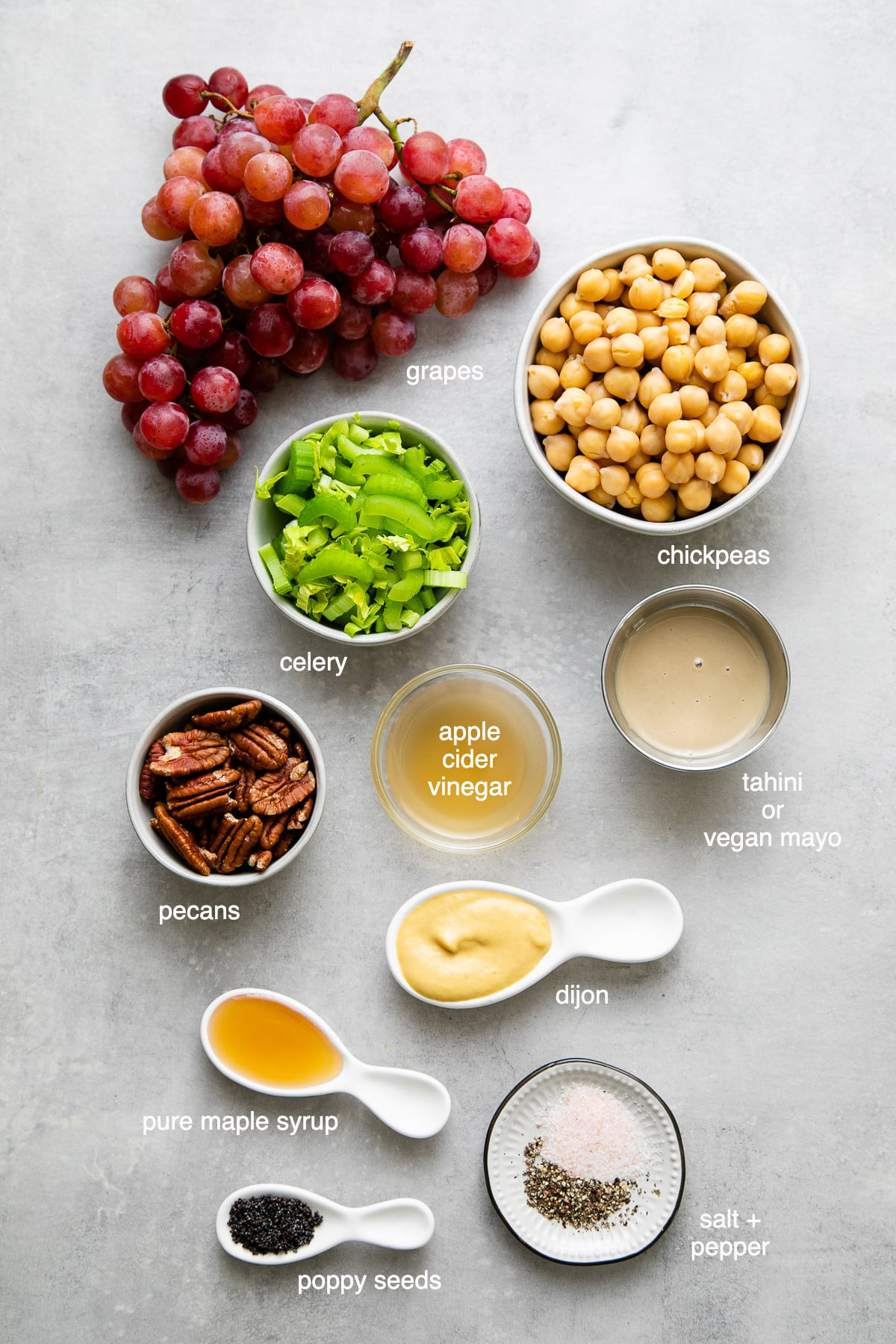 top down view of ingredients used to make healthy chickpea chicken salad recipe.