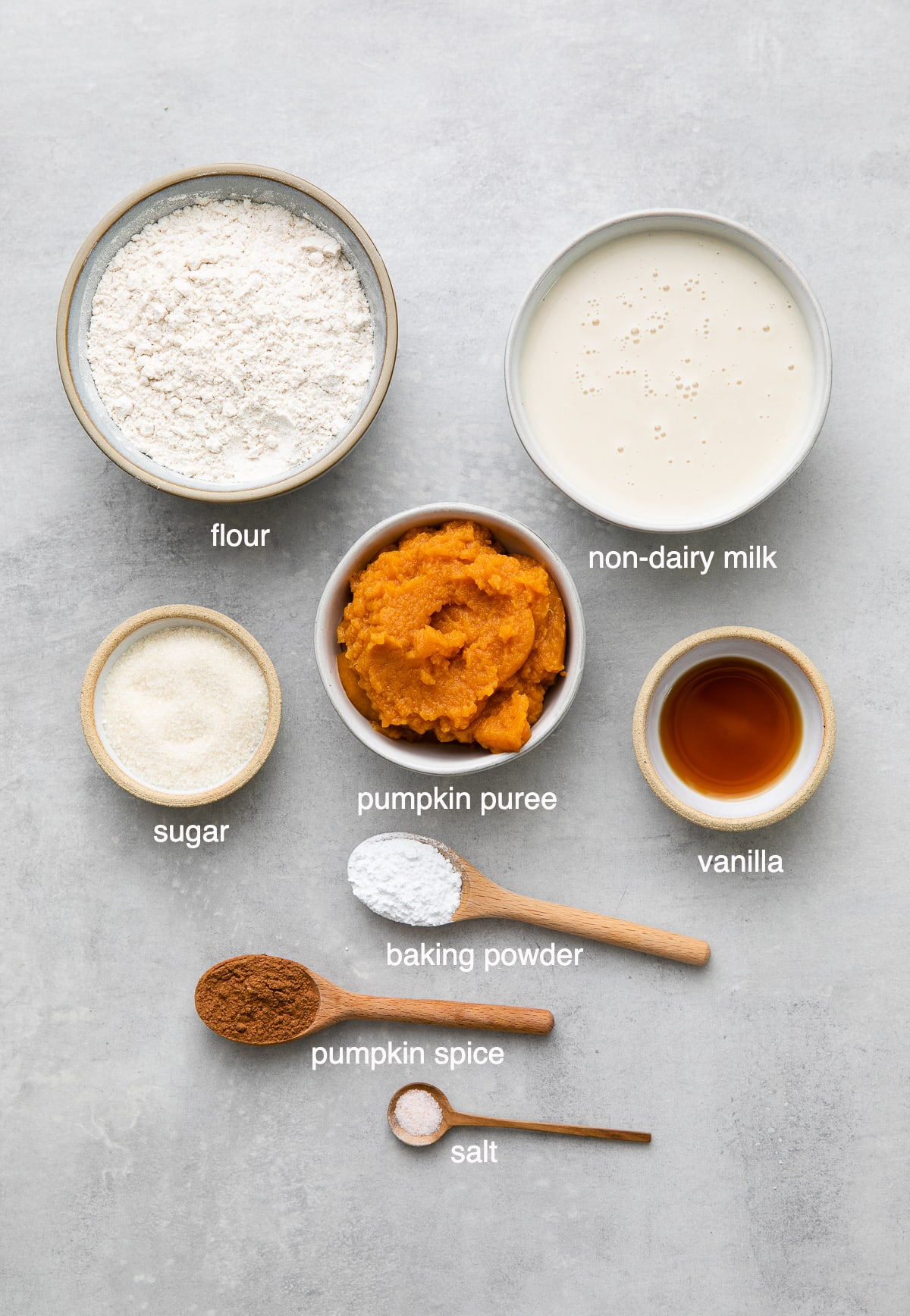 top down view of ingredients used to make healthy vegan pumpkin pancakes recipe.