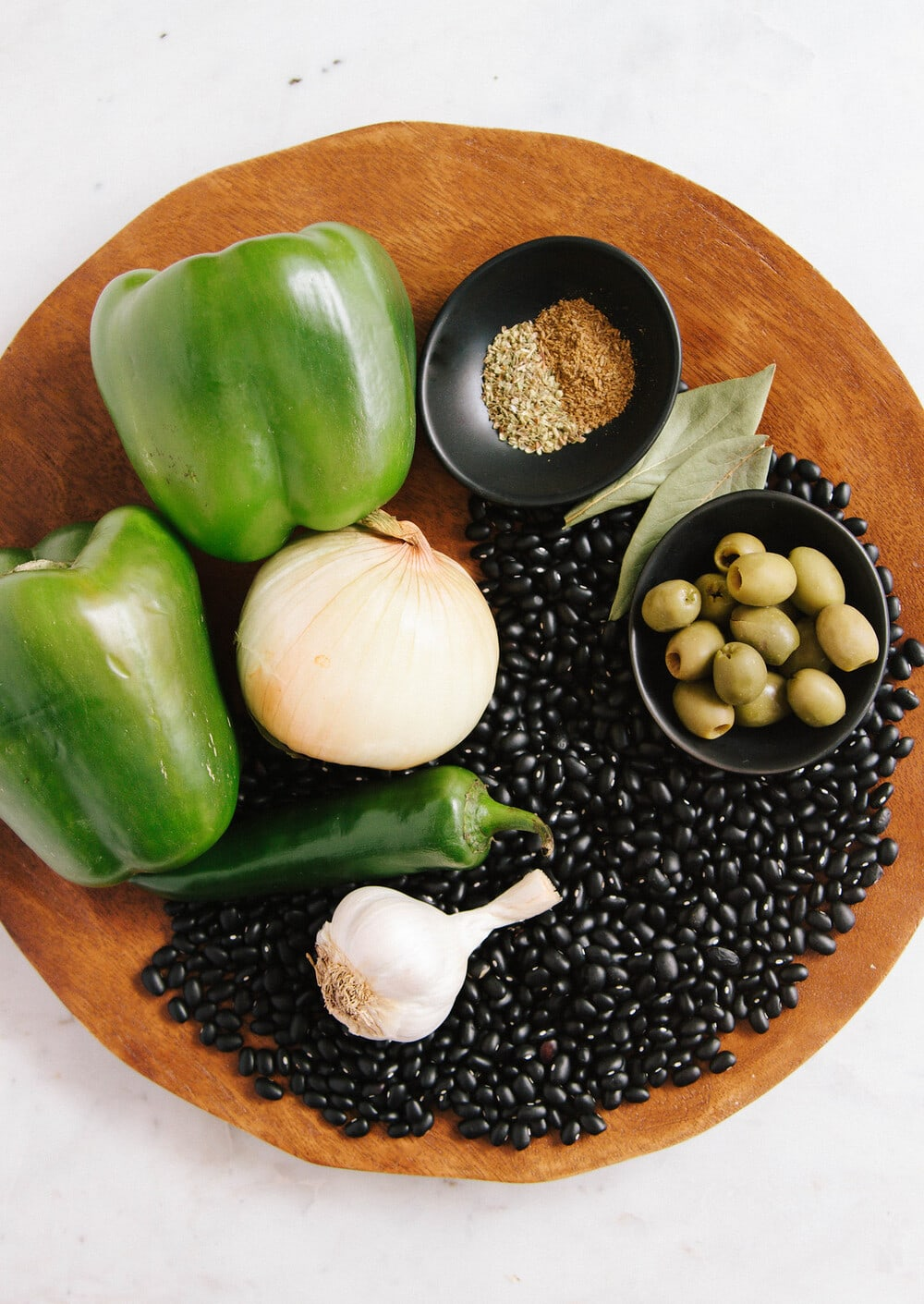 top down view of ingredients to make instant pot cuban black beans.