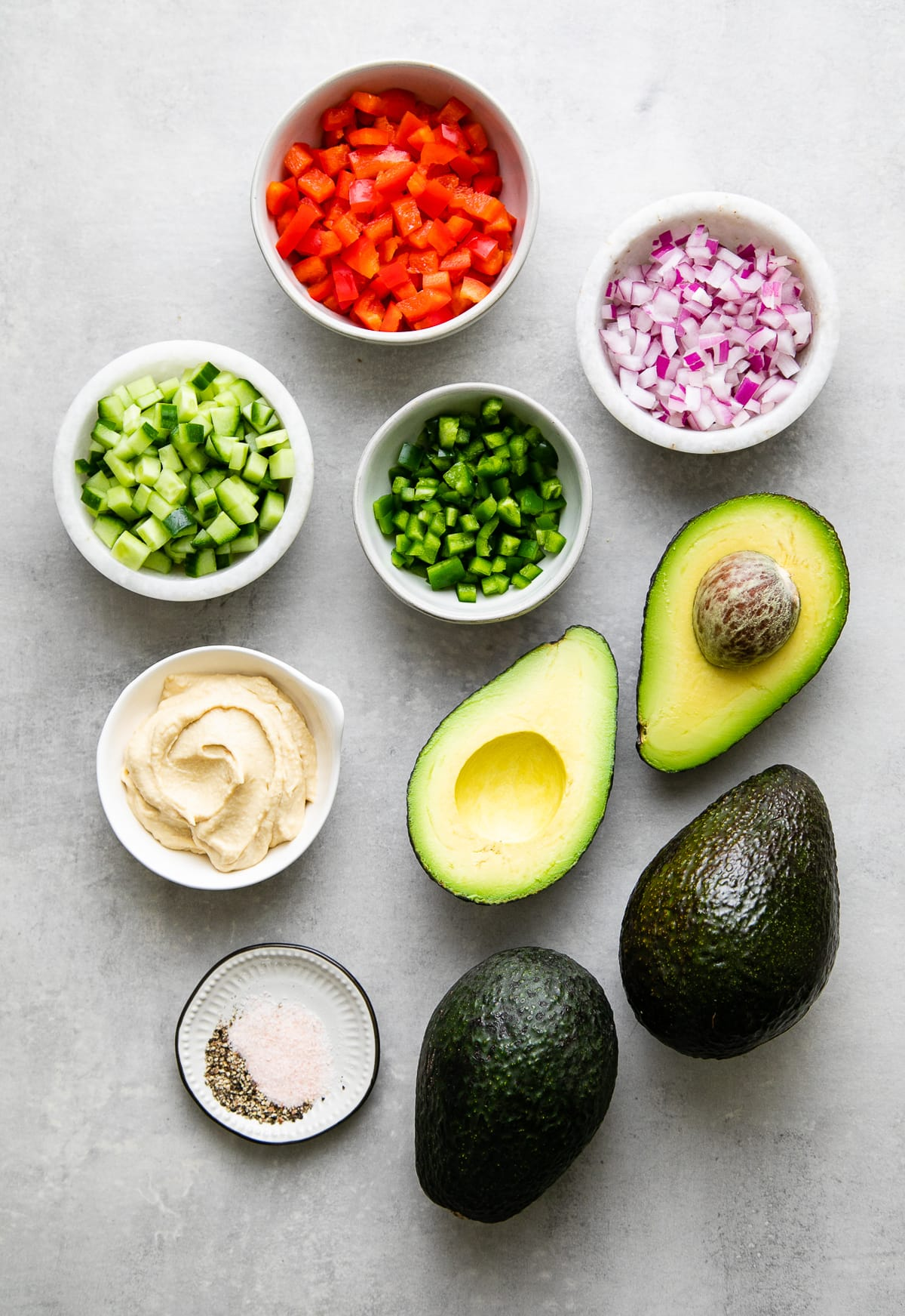 ingredients used to make stuffed avocados.