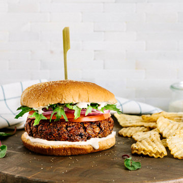 head on view of smoky black bean burger.