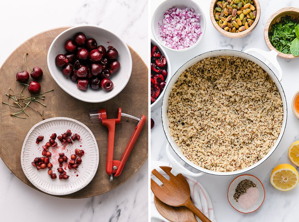 side by side photos showing the process of prepping quinoa salad with cherries, pistachios and mint.