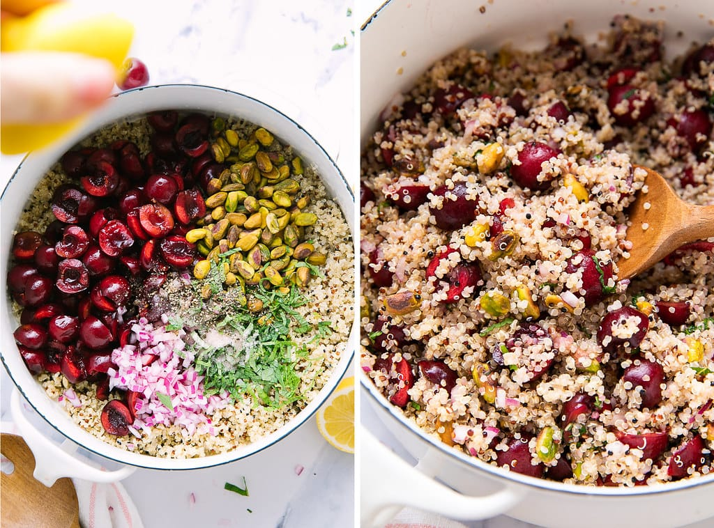 side by side photos showing the process of assembling cherry pistachio quinoa salad recipe.