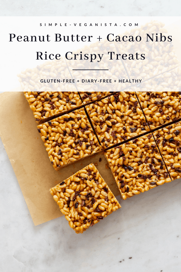 Peanut Butter Cacao Nibs Rice Crispy Treats