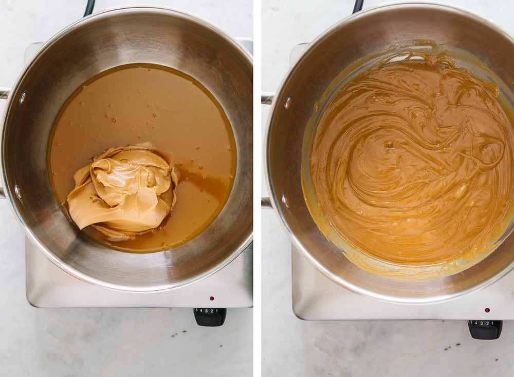 top down view of side by side photo of warmed brown rice syrup and peanut butter being added, next to peanut butter now melted in with the brown rice syrup