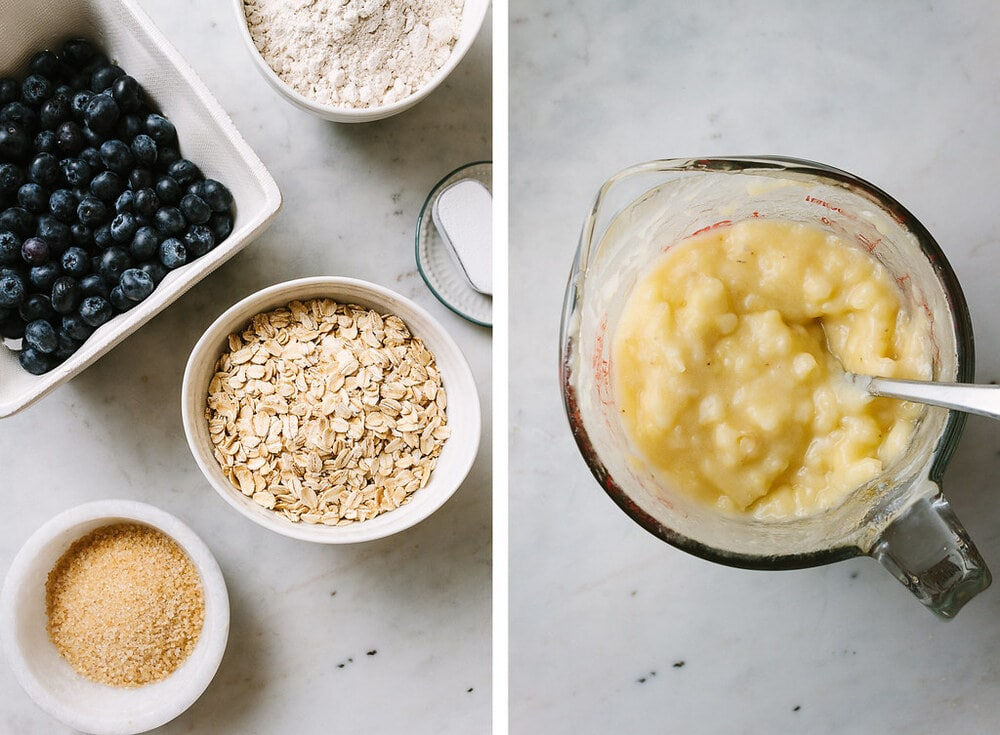 side by side photos of the ingredients prepped and ready to make blueberry banana oat bread.