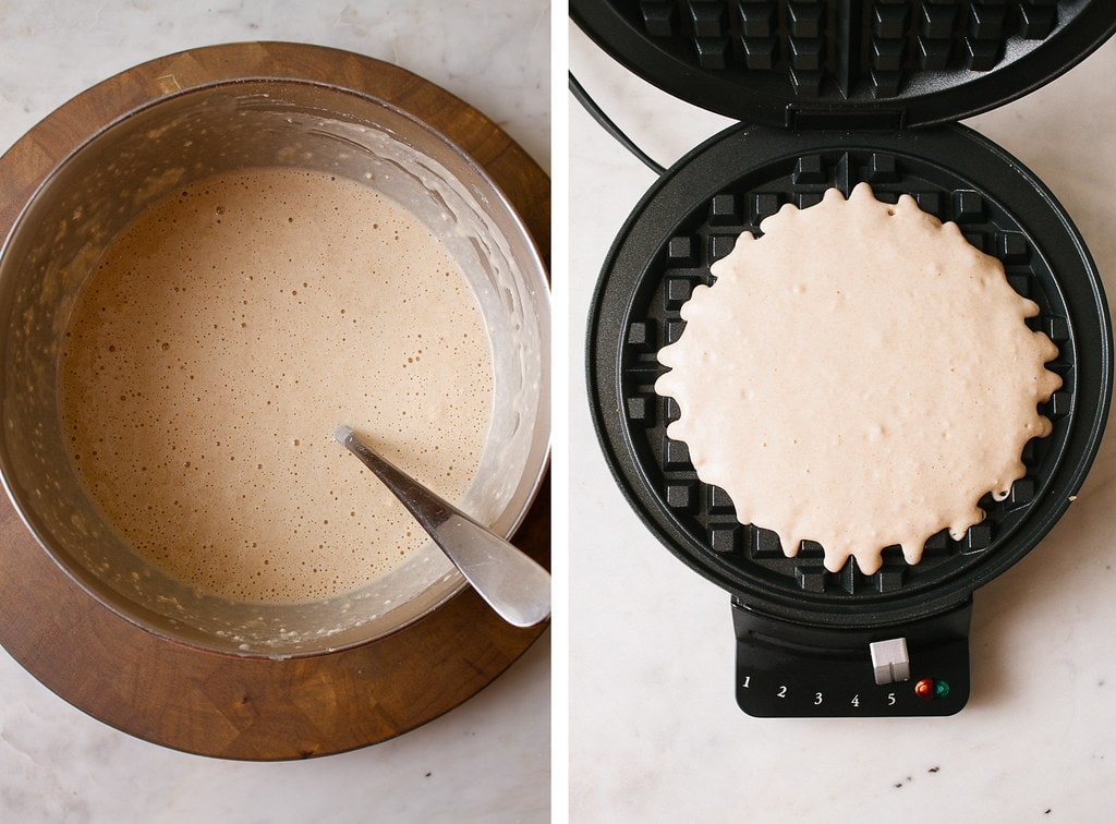 side by side photos showing the process of making vegan waffle batter.