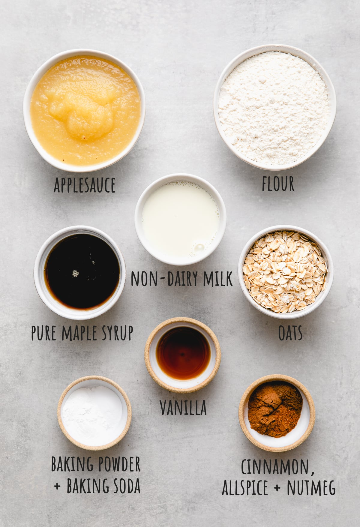 top down view of ingredients used to make applesauce bread.