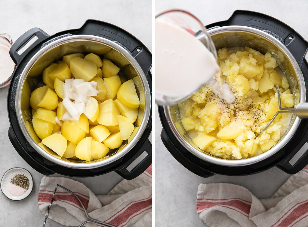 side by side photos showing the process of creaming and mashing potatoes in an Instant Pot insert.