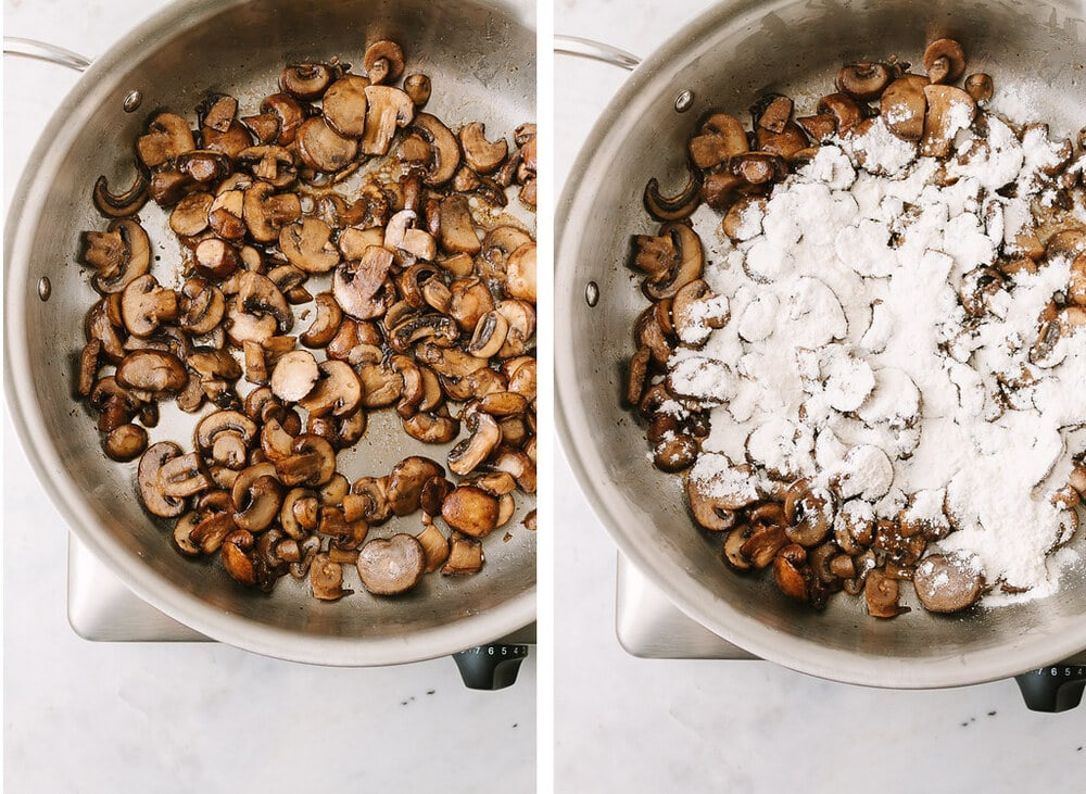 side by side photos of the process of sauteing mushrooms and adding flour to make vegan mushroom gravy.
