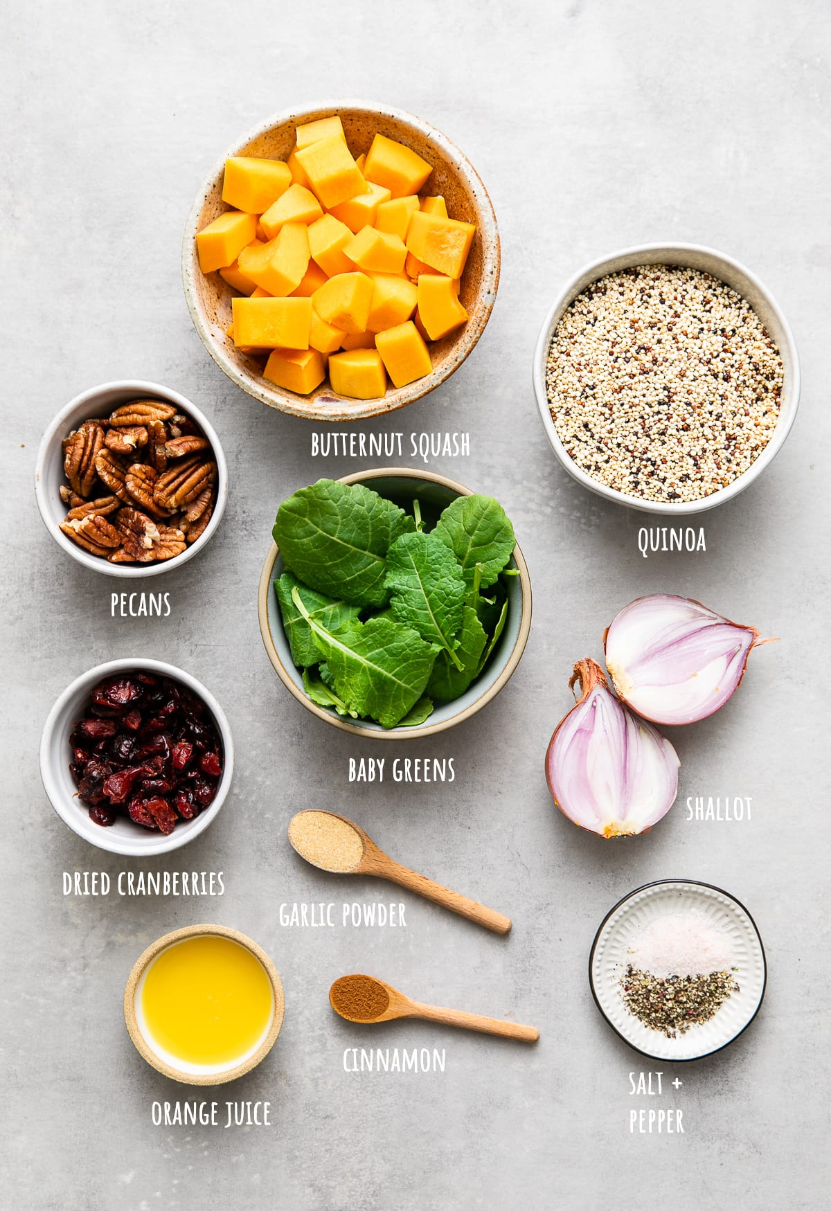top down view of ingredients used to quinoa salad with roasted butternut squash, pecans and cranberries.