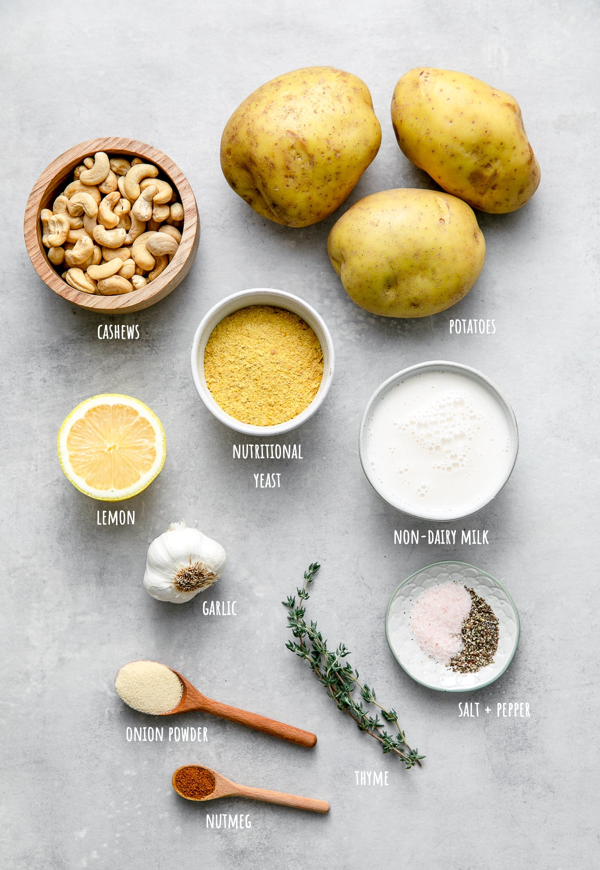 top down view of ingredient used to the best vegan scalloped potatoes recipe.