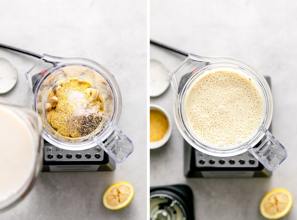 side by side photos showing the process of making vegan scalloped potatoes cheese sauce in blender.