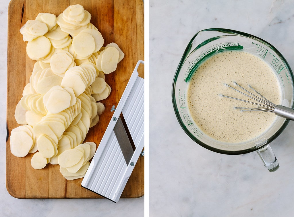 side by side photos showing the process of making vegan scalloped potatoes.