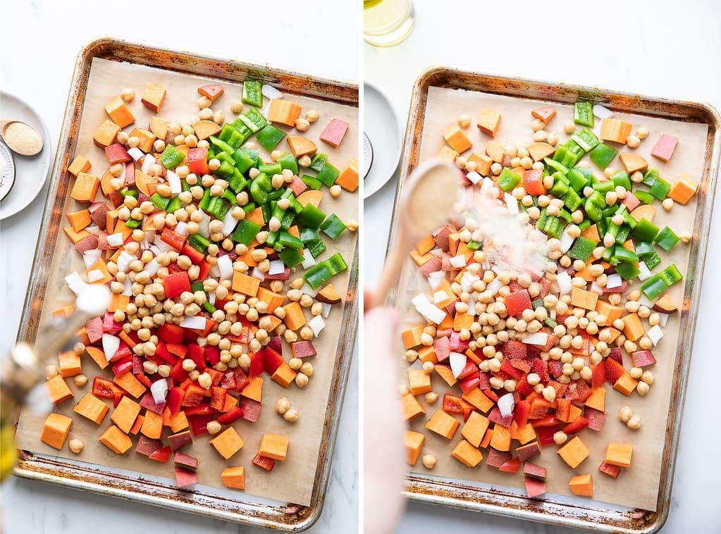 side by side photos showing the process of seasoning sweet potato breakfast hash on a baking sheet.