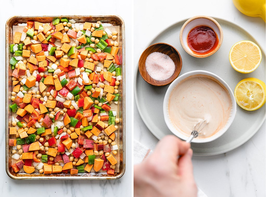 side by side photos of breakfast hash on baking sheet and making tahini sauce.