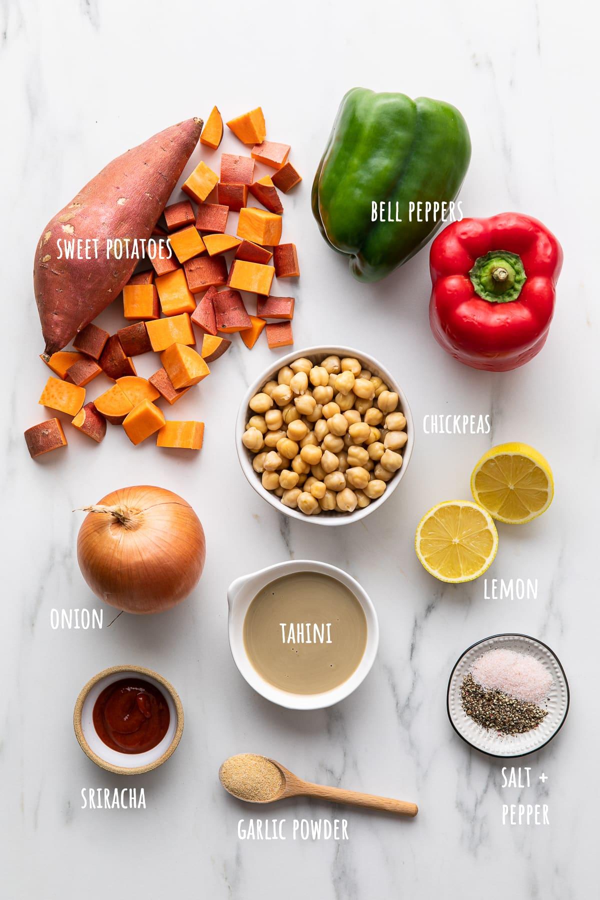 top down view of ingredients used to make best sweet potato breakfast hash.